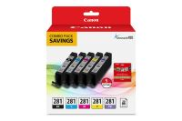CLI-281 Combo Ink Pack with Glossy Photo Paper (20 Sheets, 5